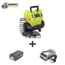 Sun Joe IONAIR 40V Cordless 1.6-Gallon Air Compressor w/Inflator Accessories, Kit (w/4.0-Ah Battery + Quick Charger)