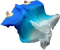Winged Sirenny Children 1.1m Belly Dance Silk Fan Veil Worship Flag Streamer