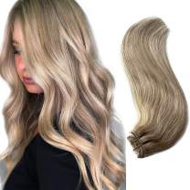 Blonde Human Hair Bundles 100G with Ash Blonde Lowlights Sew in Weft Hair Extensions Beige Blonde to Platinum Blonde Highlights Real Hair Weave Extensions 20 Inch Double Hand Tied Weft Hair for Women