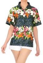 HAPPY BAY Women's Relaxed Swim Hawaiian Shirt Aloha Blouse Tops Shirt 3D Printed