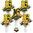 16th Birthday Party Centerpiece Sticks - Cheers To 16 Years Teenager Birthday Party Decoration - Set of 24 Golden Glitter Table Toppers Sixteen Birthday Party Table Supplies