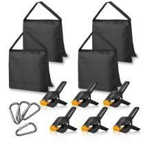 Emart 4 Packs of Heavy Duty Sandbag and 6 Packs of 4.5 inch Heavy Duty Spring Clamps, Props for Photography Photo Video Studio to Fix Backdrop Stand Kit