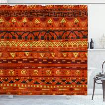 "Ambesonne Tribal Shower Curtain, Antique Folkloric Motifs Geometric Art Ornaments Illustration, Cloth Fabric Bathroom Decor Set with Hooks, 75"" Long, Orange Yellow"