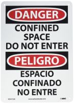 """NMC ESD672AB Bilingual OSHA Sign, Legend """"DANGER - CONFINED SPACE DO NOT ENTER"""", 10"""" Length x 14"""" Height, 0.040 Aluminum, Black/Red on White"""