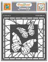 CrafTreat Butterfly Stencils for Painting on Wood, Canvas, Fabric, Wall and Tile - Stained Glass Butterflies Stencils - 6x6 Inches - Reusable DIY Art and Craft Stencils for Painting on Glass Bottles