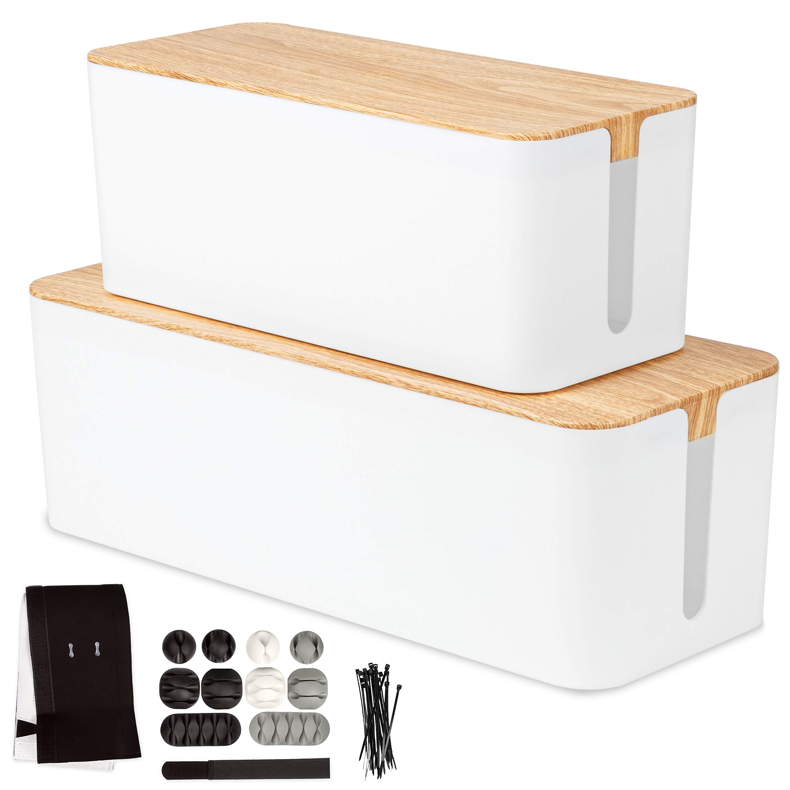 Cable Management Box, 2 Pack - White Cord Organizer with Wood Top - Hider for Wires, Power Strips, Surge Protectors & More - Includes Cable Sleeve, Hook and Loop Keepers, Zip Ties & Clips