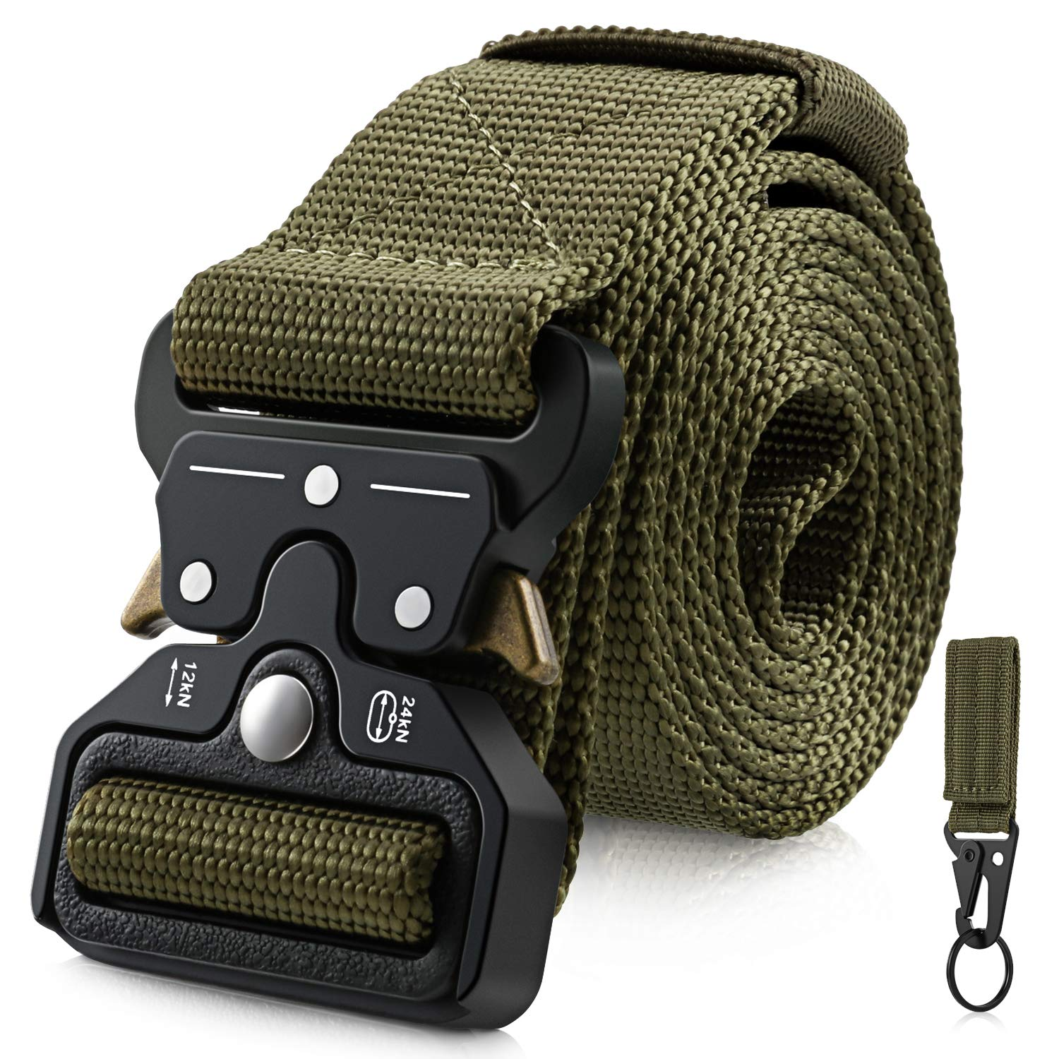 Barbarians Tactical Belt for Men, 1.5 Inch Heavy-Duty Webbing Belt Adjustable Military Style Nylon Belts with Metal Buckle & Key Buckle
