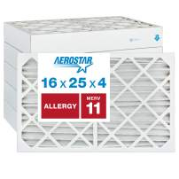 "Aerostar Allergen & Pet Dander 16x25x4 MERV 11 Pleated Air Filter, Made in the USA, (Actual Size: 15 1/2""x24 1/2""x3 3/4""), 6-Pack"