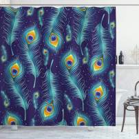 """Ambesonne Peacock Shower Curtain, Graphic Peacock Bird Feathers Background Designed Image, Cloth Fabric Bathroom Decor Set with Hooks, 75"""" Long, Navy Turquoise"""