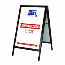 24×36 Slide-in A Frame Double Sided Poster Display Advertising Menu Board, Sidewalk Sign, Black