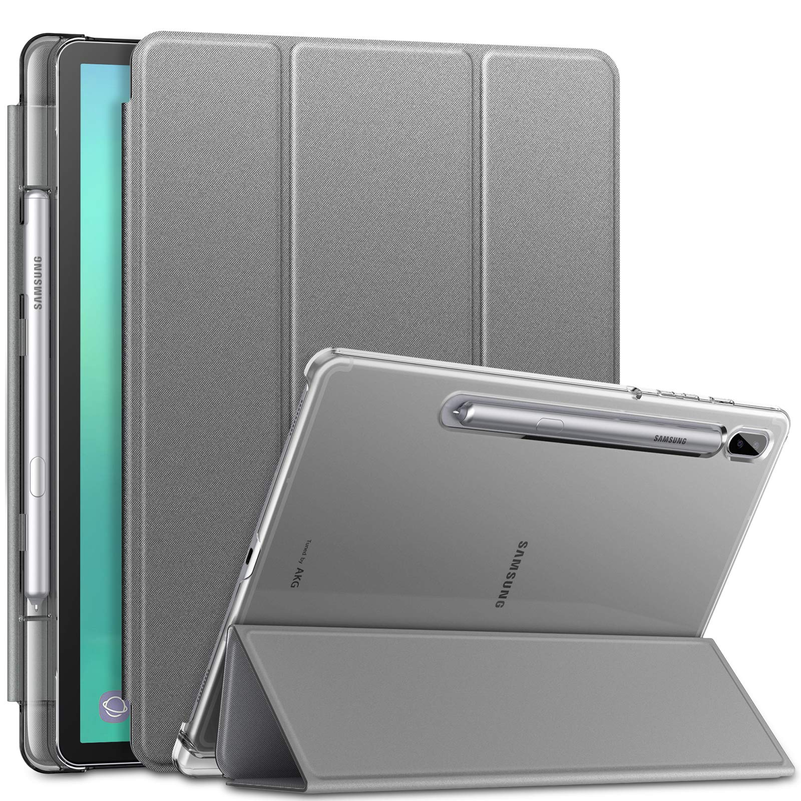 Infiland Case for Samsung Galaxy Tab S6 10.5 Inch Model SM-T860 SM-T865 SM-T867 2019 Release Tablet, with S Pen Holder, Support S Pen Wireless Charging, Auto Wake/Sleep, Gray