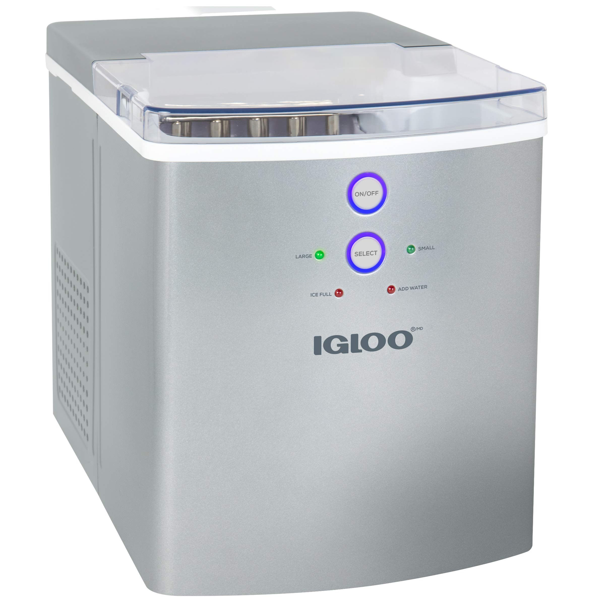 Igloo ICEB33SL 33-Pound Automatic Portable Countertop Ice Maker Machine, Silver