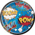 Creative Converting 324838 96 Count Dinner/Large Paper Plates, Superhero Slogans, 8 counts per pack, Pack of 12
