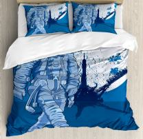 Ambesonne Astronaut Duvet Cover Set, Astronaut Proudly Walks Moon in Backdrop Walk on The Moon Space Adventure, Decorative 3 Piece Bedding Set with 2 Pillow Shams, King Size, Night Blue