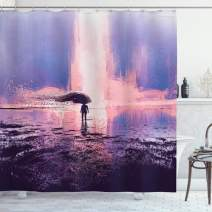 """Ambesonne Fantasy Shower Curtain, Trippy Person in Wind with Blowing Long Hair on The Water Serene Artwork, Cloth Fabric Bathroom Decor Set with Hooks, 75"""" Long, Blue Pink"""