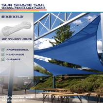Windscreen4less 8' x 8' x 11.3' Sun Shade Sail Triangle Canopy in Ice Blue with Commercial Grade (3 Year Warranty) Customized