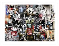 Banksy Collage Poster - Graffiti Street Art Mr Brainwash Handmade Gallery Print (18x24)