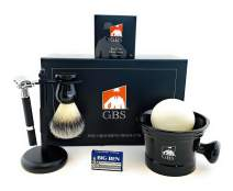 GBS 5 Pc Shaving Kit - Double Edge Safety Razor Rubber Coated Butterfly Non Slip Long Razor Animal Free Vegan Synthetic Brush Stand, Ceramic Mug All Natural Soap + 15 DE Blades Mens Care West Shave