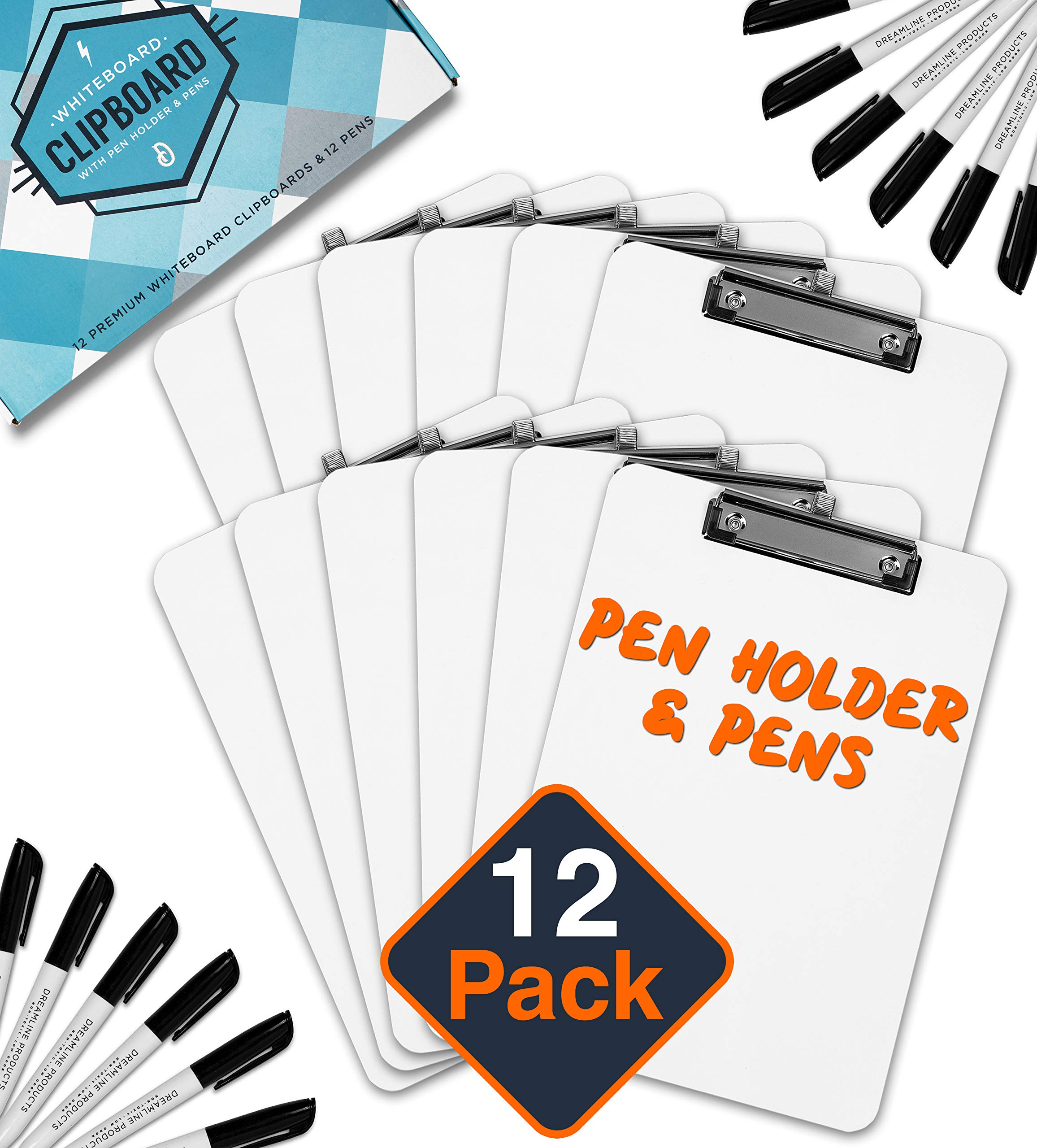 Dry Erase Clipboard + Pen Holder + Markers (12pc) Set of 12 Clip Boards Multi Pack with Whiteboard Pens! 12.5 x 9 Inch, Holds 100 Sheets! Clipboards with Low Profile Clip Board Clips