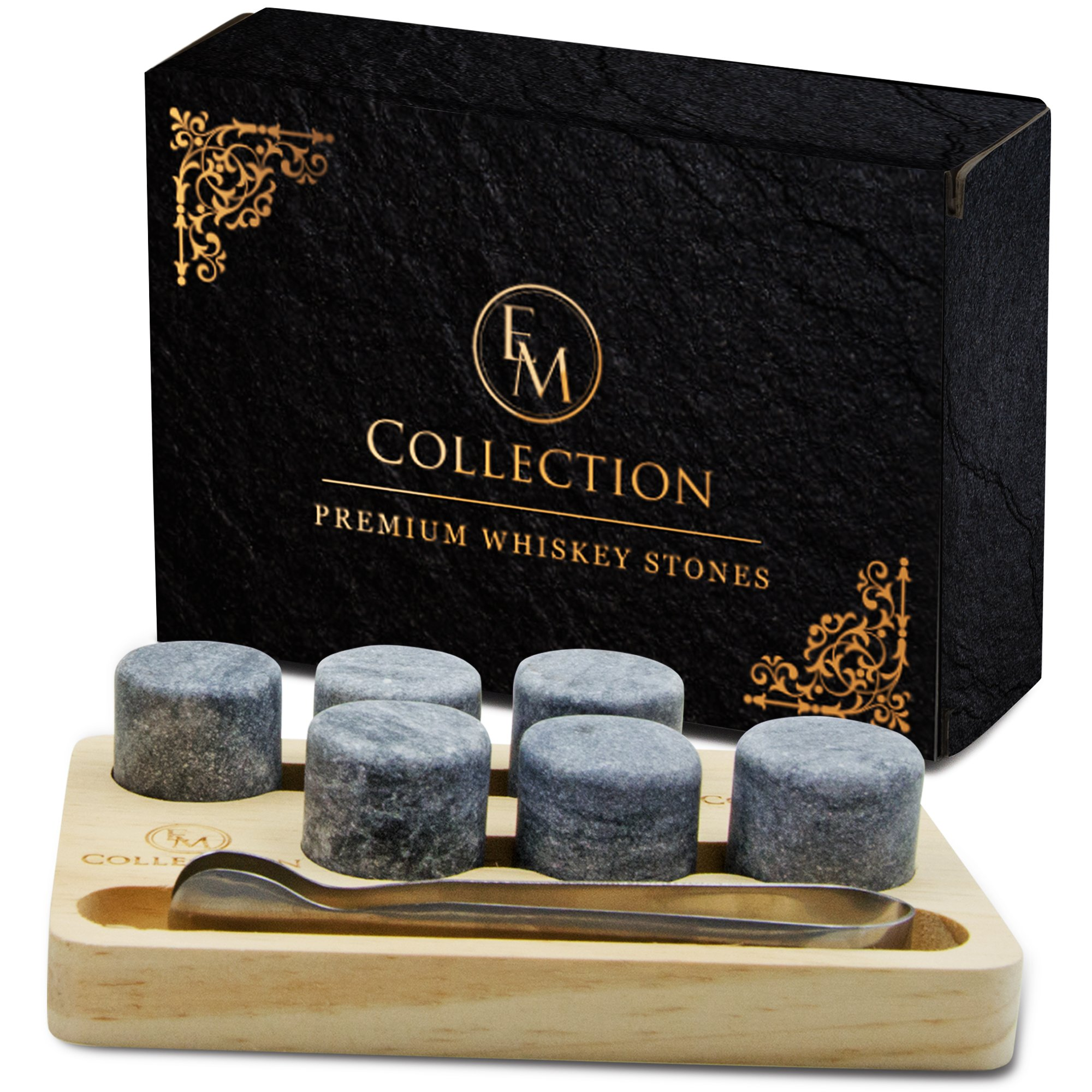 Whiskey Chilling Stones Gift Set of 6 w/Wooden Storage Tray & Forceps: Chill Any Beverage Without Dilution. Round Granite Rocks Cool a Cocktail or Scotch Better Than Ice Cubes or Soapstone