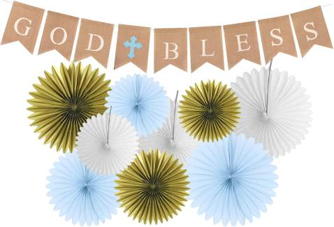 God Bless Baptism Banner | First Communion Party Banner | Christening Decorations for Wedding | Baby Baptism Decorations for Boys | 9 Premium Glittering Matching Paper Fans