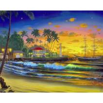 Ginfonr 5D DIY Diamond Painting Sunrise Beach Full Drill by Number Kits, Sea Wave Paint with Diamonds Art Beach House Craft Rhinestone Cross Stitch Decor (12x16 inch)