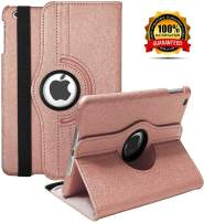 iPad Mini 1/2/3 Case - 360 Degree Rotating Stand Smart Cover Case with Auto Sleep/Wake Feature for Apple iPad Mini 1 / iPad Mini 2 / iPad Mini 3 … (Rose Gold)