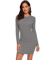 ROMWE Women's Elegant Vintage Long Sleeve Crew Neck Stretchy Mini Short Bodycon Pencil Dress