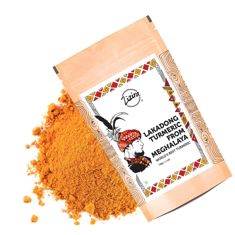 Zizira Lakadong Turmeric Powder High Curcumin of 9% Health Pack of 5.2 oz Vegetarian | Gluten Free | Non-GMO |