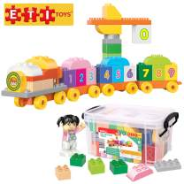ETI Toys, 58 Piece Bublu The Number Train Building Blocks. Build Train & Carriages with Numbers, Toll Gate. Safe, Creative Skills Development. Gift, Toy for 3, 4, 5 Year Old Boys and Girls