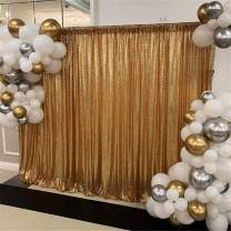 Gold Sequin Wedding Backdrop Curtain 7ftx7ft Shiny Photography Booth Backdrop Glitter Indoor Stage Backdrop Decorations