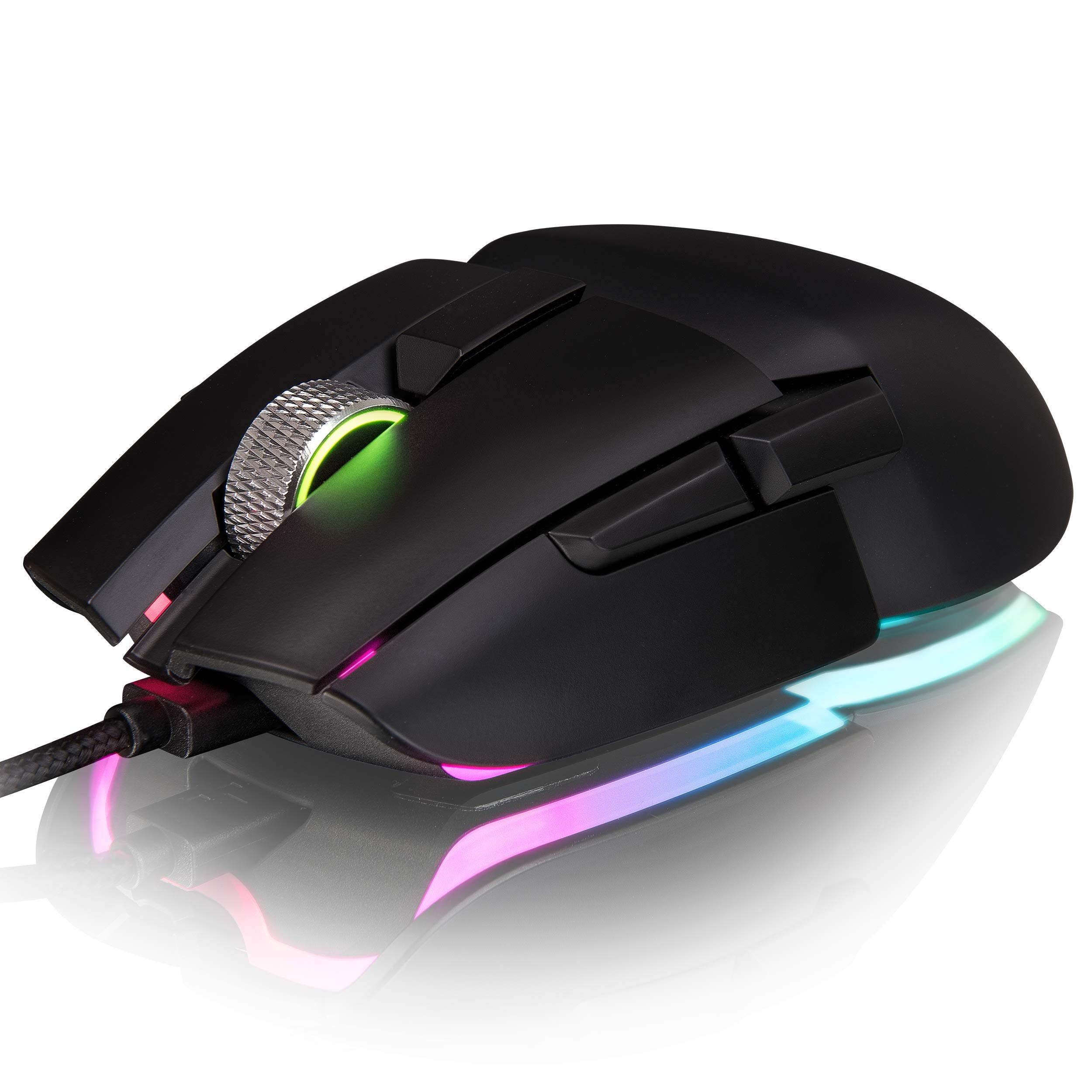 Thermaltake Argent M5 Gaming Mouse, 16.8M RGB Color Software Enabled, 8 Customizable Dynamic Lighting Effects, PIXART PMW-3389 Optical Sensor, DPI Adjustments Up to 16,000. GMO-TMF-WDOOBK-01