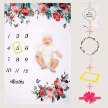 Floral Baby Monthly Milestone Blankets for Baby Girls Boys Soft Premium Flannel Photo Blanket for Newborn Shower Gifts,Include Floral Wreath & Headband + Frame