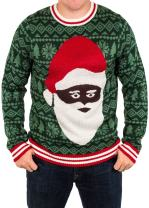 Festified Ugly Christmas Sweater - Black Santa Clause Holiday Sweater