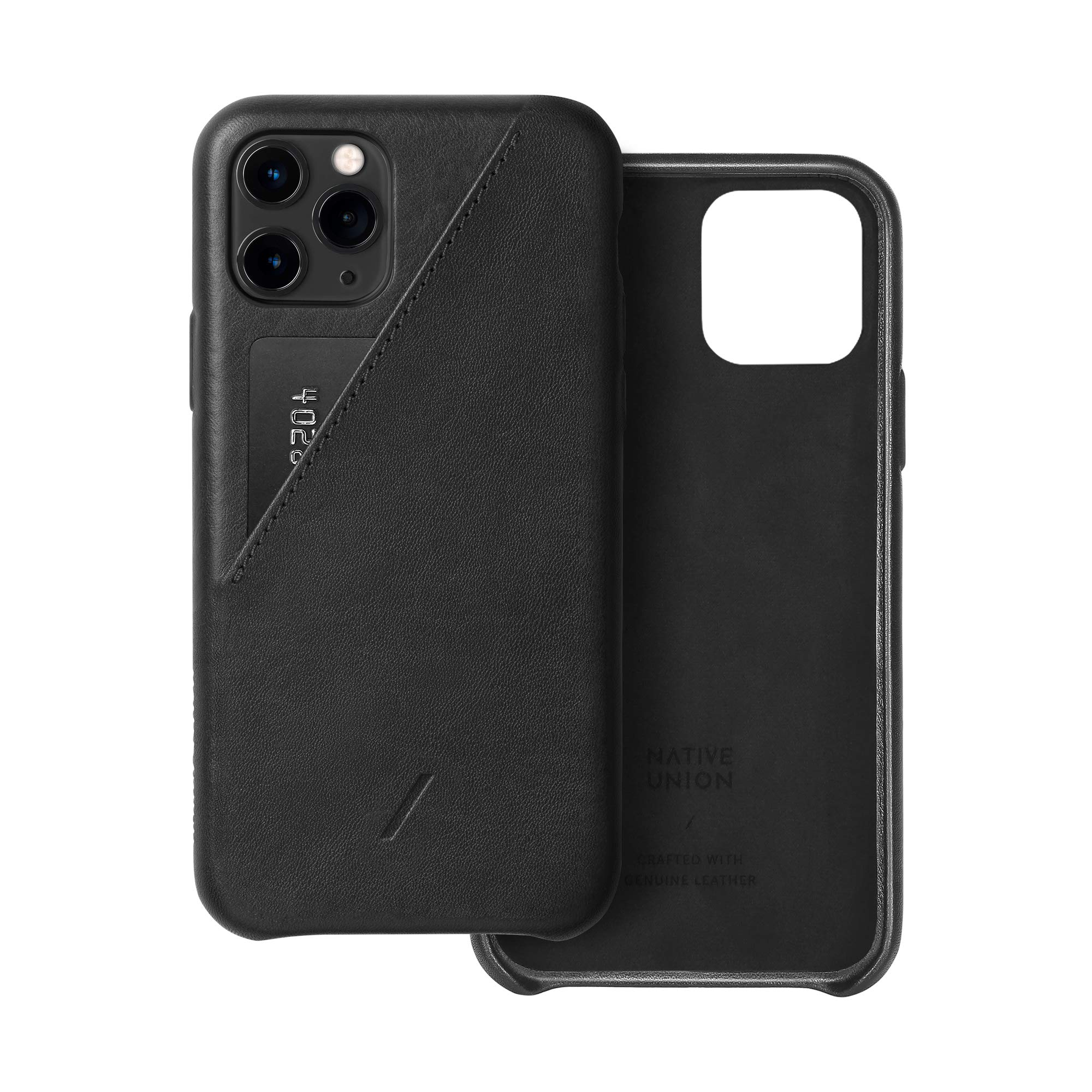 Native Union Clic Card Case - Crafted with Genuine Italian Nappa Leather Slim and Lightweight Cover with Card Holder - Compatible with iPhone 11 Pro (Black)