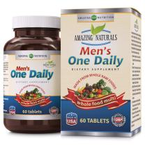 Amazing Naturals Men's ONE Daily Multivitamin * (Non GMO,Gluten Free) Best Raw Whole Food Multivitamins for Men * 60 Tablets Per Bottle. Packed with The Goodness of Over 30 Organic Vegetables