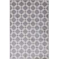 Decomall Milan Moroccan Geometric Patchwork Diamond Neutral Area Rug for Living Room, Bedroom, 4x6ft, Grey