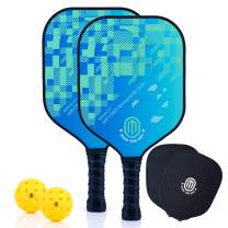 OWN THE NET Pickleball Paddles Pro Player Tested, USA-Owned Brand, Pickleball Set with Patented Carbon Fiber Graphite, 2 Pickleball Paddle Covers, 2 Pickleball Balls and Carry Bag