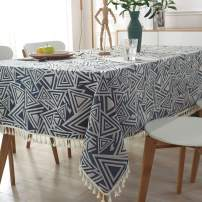Stitching Tassel Tablecloth Rectangle/Oblong Polyester Dust-Proof Heavy Weight Table Cloth for Indoor Purpose Dining Table Cover