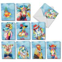 Funny Farm - 20 Artistic All Occasion Cards with Envelope (4 x 5.12 Inch) – Assorted Animals Appreciation Greeting Card - All-Occasion Printed Stationery Cards (2 Each, 10 Designs) AM6563OCB-B2x10