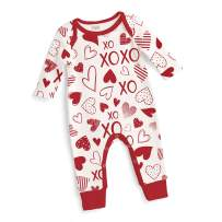 Tesa Babe Baby Romper for Newborn to Toddler Boys Girls with Hearts XO Print, Multi