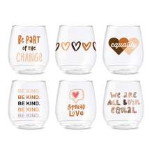 TOSSWARE POP 14oz Vino Equality Series, SET OF 6, Recyclable, Unbreakable & Crystal Clear Plastic Printed Glasses