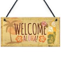 "Meijiafei Tiki Bar Welcome Hanging Wall Plaque Garden Home Bar Pub Sign Friendship Alcohol Gift 10"" X 5"""