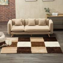 Mecor Soft Fluffy Bedroom Area Rugs, Collection Area Rug Cozy Solid Flokati Shaggy Carpet Multicolor for Living Room/Bedroom Floor(5'x7'),Brown Cubes