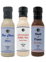Premium | Best Selling STEAK SAUCE | Variety 3 Pack | Hall of Fame Steak Sauce | Blue Cheese & Chive Steak Sauce | Horseradish Rebel Yell Steak Sauce