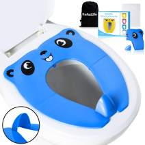RafaLife Bath Toys - [Upgrade Splash Guard - Stable] Portable Toilet Training Seat for Toddlers, Boys & Girls. Folding Travel Potty Seat. Extra Stable, Powerful and Safe, with Handy Carry Bag (Blue)