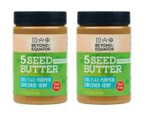 Beyond the Equator 5 Seed Butter Unsweetened- Peanut Free, Tree Nut Free, No Added Sugar, Sunflower Seed, Chia See, Flaxseed, Pumpkin Seed, Hemp Hearts, Low Carb, Keto, Non-GMO, 2 Pack, 16 Ounces