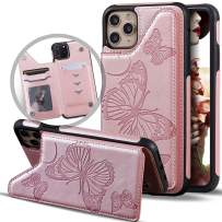 iPhone 11 Pro Max Wallet Case with Card Holder for Women/Girl,Vodico Slim Cute Girly Embossed Butterfly Leather Thin Folio Flip Magnetic Clasp Purse Phone Cover with Credit Card Slot&Stand (Rose Gold)