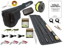 Wild Water Fly Fishing 9 Foot, 4-Piece, 7/8 Weight Fly Rod Deluxe Complete Fly Fishing Rod and Reel Combo Starter Package with Freshwater Flies