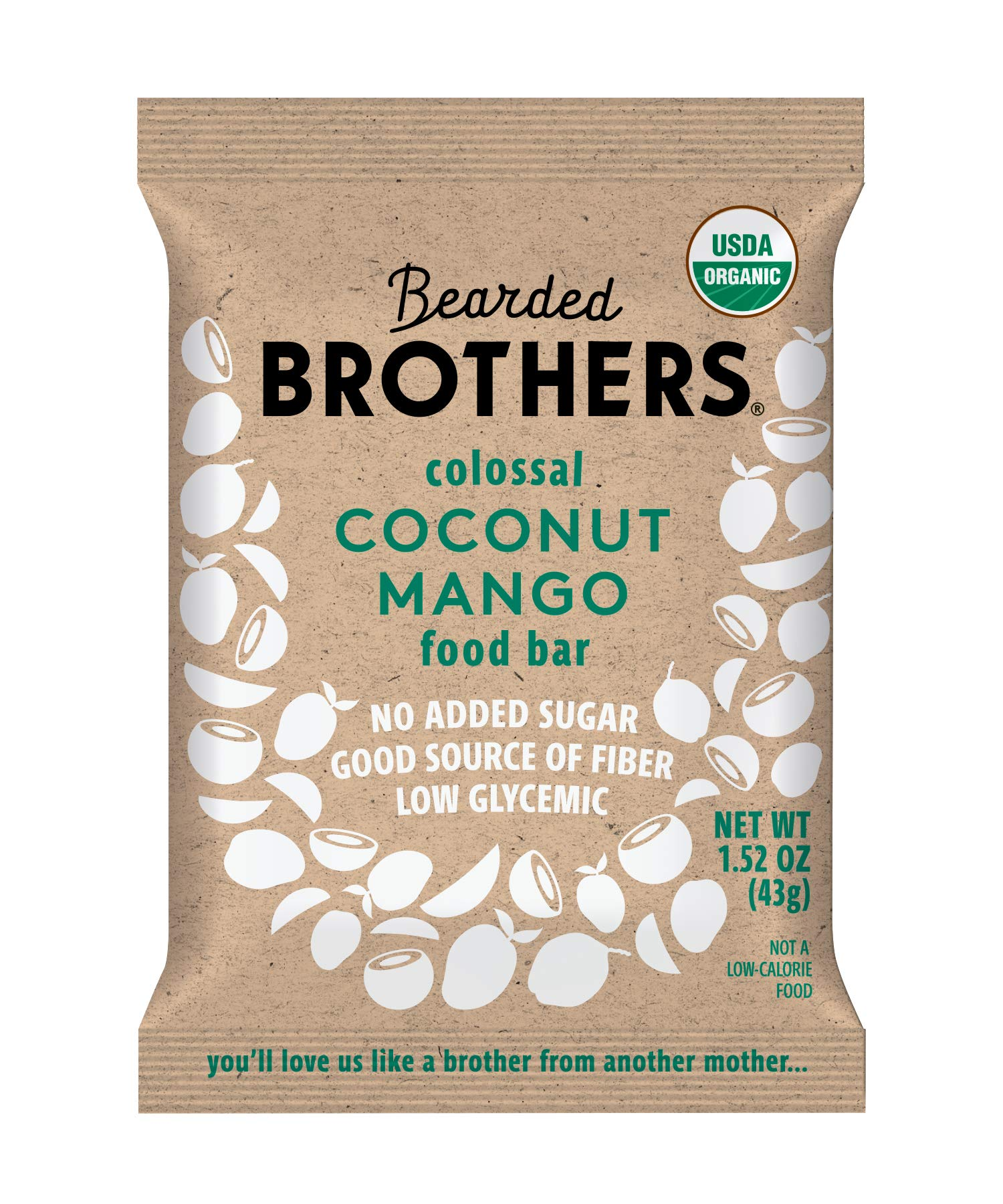 Bearded Brothers Vegan Organic Energy Bar   Gluten Free, Paleo and Whole 30   Soy Free, Non GMO, Low Glycemic, Packed with Protein, Fiber + Whole Foods   Coconut Mango   12 Pack